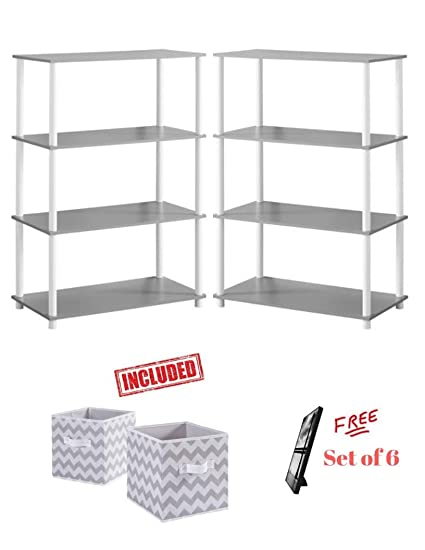 Mainstay Set of 2 No Tools 6-Cube Storage Shelf in Gray Finish with Free!