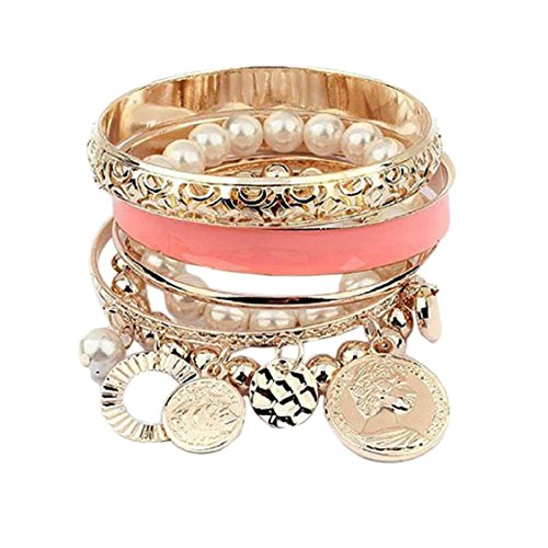 New Korean Style Girls Exquisite Coin Pearl Hollow Bracelet Jewelry (Pink)