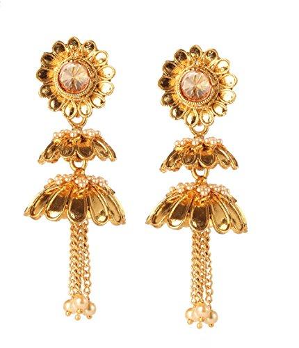 Bindhani Indian Bollywood Wedding Jewelry Faux Pearl Dangling Jhumka Jhumki Earrings For Women ()