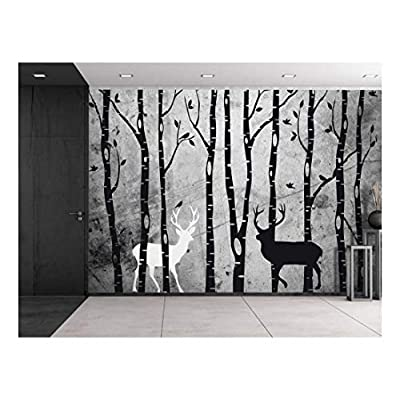 Amazing Creative Design, Trees and Deer Illustrations Over a Grungy Texture Background Wall Mural Removable Vinyl Wallpaper, With Expert Quality