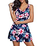 Zando Women One Piece Swimdress Tummy Control Swim Dress Swimwear Slimming Skirt Swimsuits Bathing Suit Dress Flower Print Navy Medium (fits like US 4-6)
