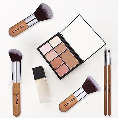 BS-MALL Premium 11 PCS Synthetic Bamboo Blush Foundation Eyeshadow Eyeliner Bronzer Makeup Brushes Sets Plus 1 Piece Makeup Sponges