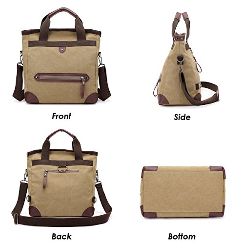 Canvas Shoulder JOSEKO �� Khaki Multifunctional Bag Bag Convertible Backpack Handbag O5xFHwx