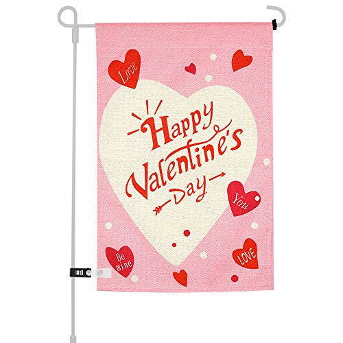 KUUQA Happy Valentine's Day Garden Flag for Garden Decorations Valentine's Party Supplies 12 X 18 Inches ()