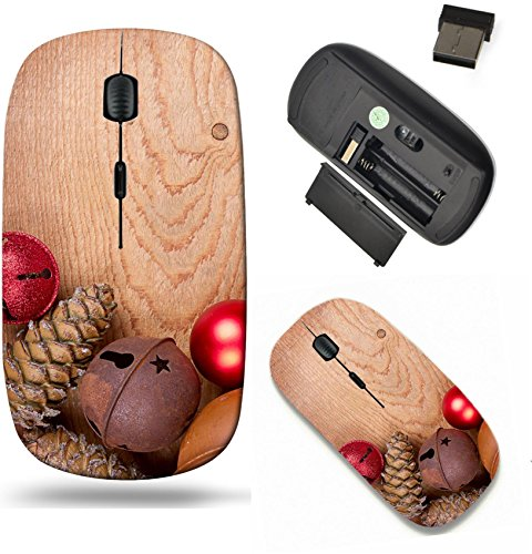 Liili Wireless Mouse Travel 2.4G Wireless Mice with USB Receiver, Click with 1000 DPI for notebook, pc, laptop, computer, mac book Chirstmas ornaments pinecones and rusty bells on a brown wood panel P
