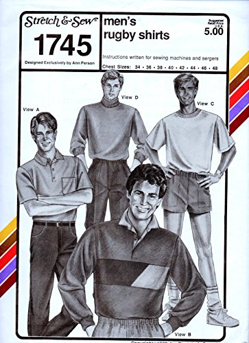 Lightweight Stretch Rugby - Stretch & Sew Pattern #1745 Men's Rugby Shirts Chest Sizes 34-42. Vintage 1989. Unused.