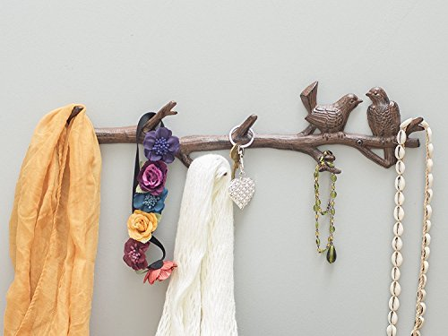 Cast Iron Birds On Branch Hanger With 6 Hooks | Decorative Cast Iron Wall Hook Rack | For Coats, Hats, Keys, Towels, Clothes | 18.5x2x4.5 - With Screws And Anchors By Comfify (Rust Brown)