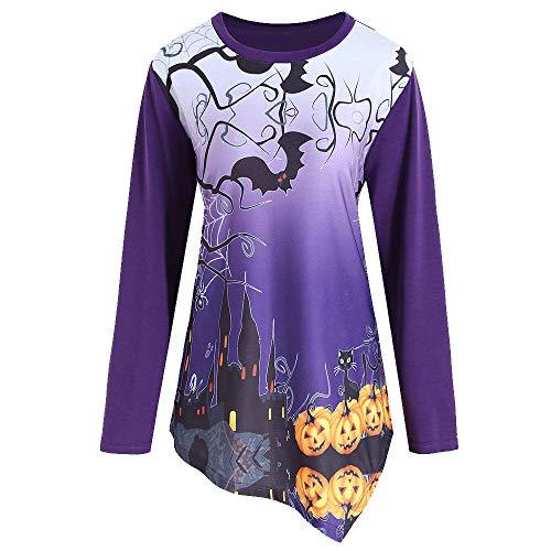 kaifongfu Ladies Halloween Irregular Long Sleeve Top Pumpkin T-Shirt(Purple,S) -