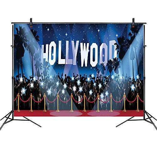 Hollywood Themed Backdrop (LB Hollywood Backdrop Red Carpet Photo Backdrop for Photoshoot 7x5ft Vinyl Movie Awards Night Ceremony Birthday Party Event Dress-up Portraits Photo Booth)