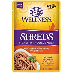 Wellness Healthy Indulgence Shreds Tuna and Shrimp Light Sauce Cat Food, 3 Ounce -- 24 per case.