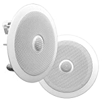 "8"" Ceiling Wall Mount Speakers - Pair of 2-Way Midbass Woofer Speaker Directable 1"" Titanium Dome Tweeter Flush Design w/55Hz-22kHz Frequency Response & 300 Watts Peak Easy Installation - Pyle PDIC80"