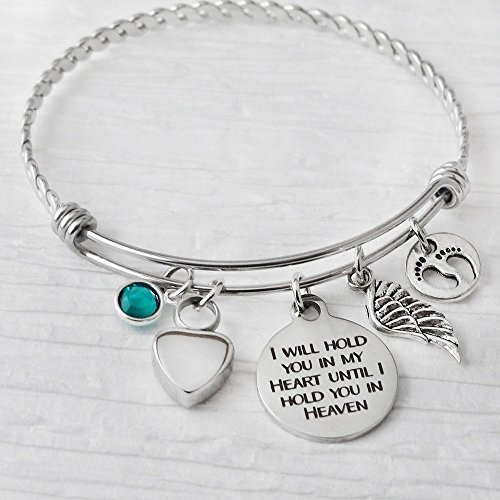 Cremation Jewelry for Ashes, Urn Bracelet for ashes for Women, I will hold you in my heart until I hold you in my heart Bangle Bracelet, Pregnancy Loss, Expandable Charm bracelet, Footprint charm