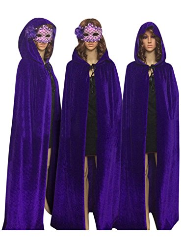 Ecity Unisex Adult Costume Velvet Hooded Cloak Role Play Halloween Xmas Party Cape (Large (59 inch=150cm), Purple) for $<!--$20.98-->