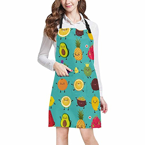 InterestPrint Funny Fruit Emoji Lemon Mango Dragon Fruit Avocado Pineapple and Pumpkin Chef Aprons Professional Kitchen Chef Bib Apron with Pockets Adjustable Neck Strap, Plus Size