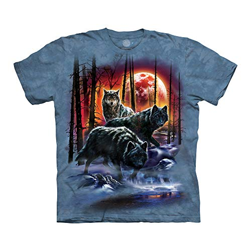 The Mountain Fire And Ice Wolves Adult T-Shirt, Blue, 2XL