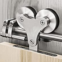 """16FT Top Mounted Stainless Steel Solid Double Head Roller Double Bi-parting Sliding Barn Door Hardware (16ft double door kit)-16"""" apart holes on track"""