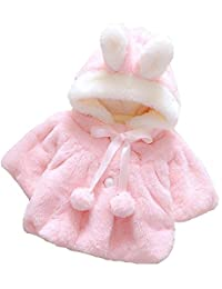 MOUSYA Infant Baby Winter Coat Girls Cute Bunny Style Furry Thick Warm Cloak Coat