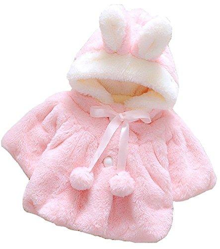 Baby Kids Toddler Hoodie Winter Warm Coat Faux Fur Cloak Poncho Outwear (6-12Months, Pink)