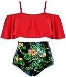 COCOSHIP Red & Green & Yellow Pineapple Leaves Ruffled Bikini Set Flounce Falbala Top Tiered Ruched High Waist Swimsuit Bathing Suit 6