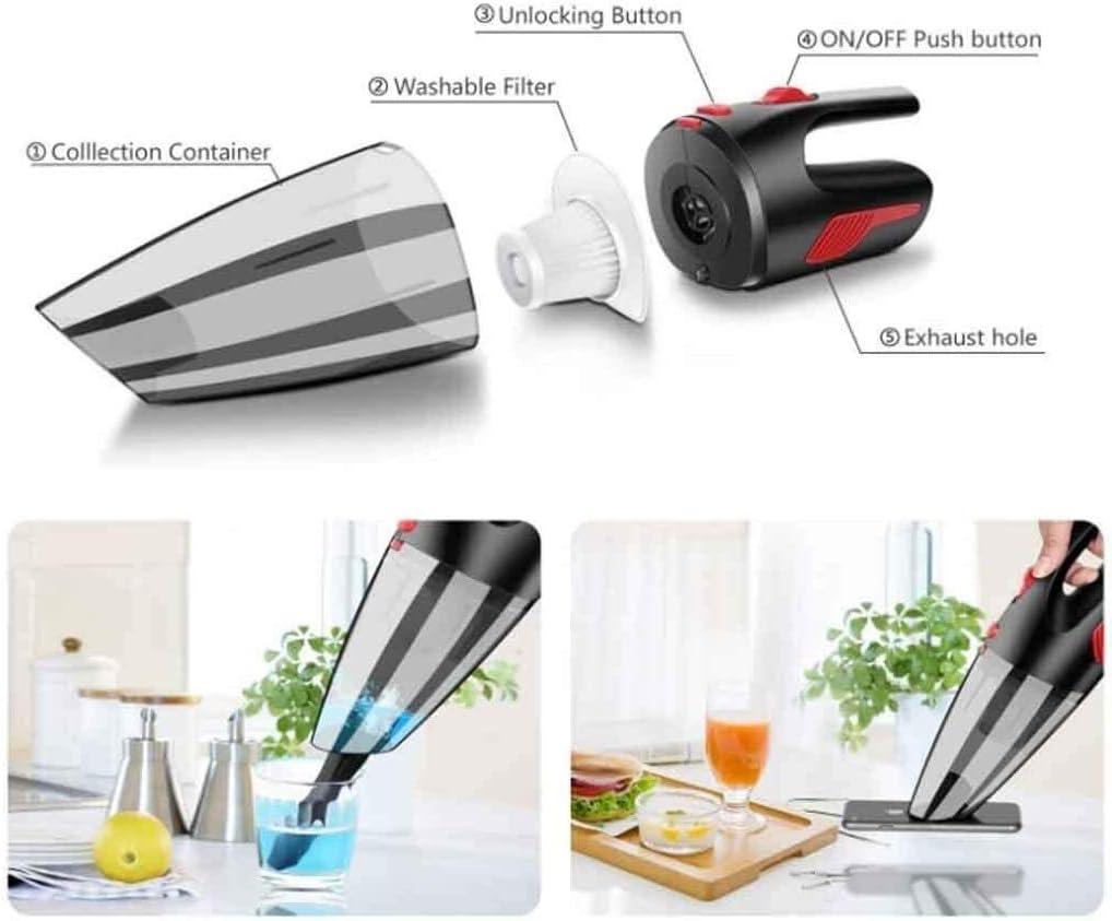 Lanrui Aspirateur Portable for Voiture Puissant Cyclone Absorption D\'humidité Type De Cuisine Sec Aspirateur Couleur: Blanc (Color : Black) Black