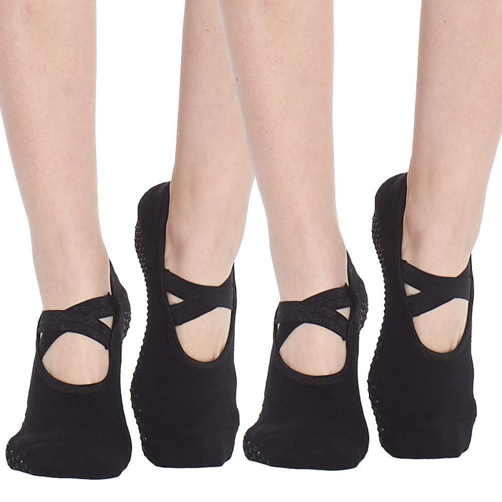 Yoga Socks for Women Non Skid Socks with Grips Barre Socks Pilates Socks for Women (black-2 pack) by QING