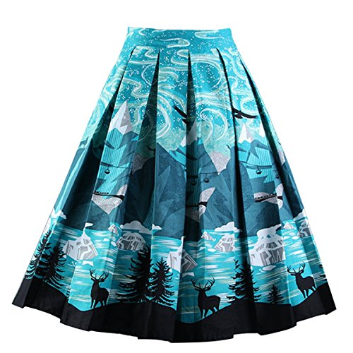 Girstunm Women's Pleated Vintage Skirt Floral Print A-line Midi Skirts with Pockets Night-Sky M