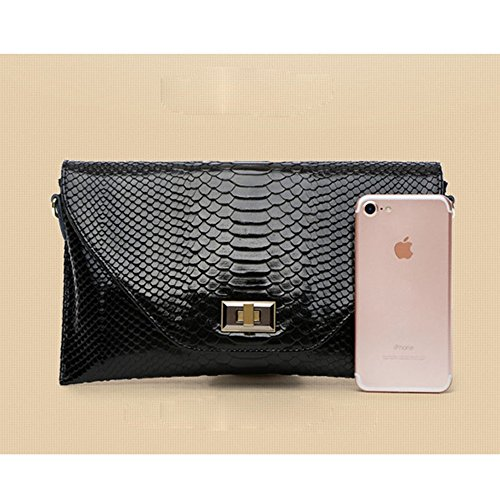 Day Lady Pattern Crocodile Black Clutches Bags Women's Cross Leather body Bags Evening Genuine 1xCZq0