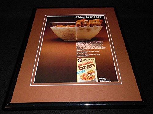 - 1988 Quaker Crunchy Bran Cereal Framed 11x14 ORIGINAL Vintage Advertisement