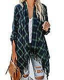 Farktop Womens Plaid Fringe Cardigan Roll Up Long Sleeve Lightweight Open Front Draped Outerwear Coat Top
