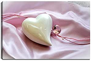 Ceramic heart picture on canvas in size: 60x40 cm. High-quality art print as mural. Cheaper than an oil painting!