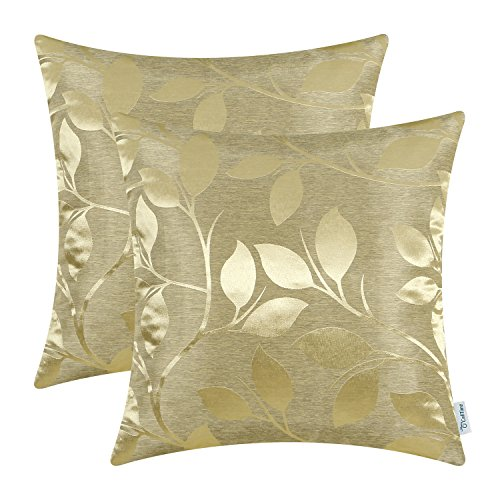 CaliTime Pack of 2 Throw Pillow Covers Cases for Couch Sofa Home Decor Shining & Dull Contrast Vibrant Growing Leaves 18 X 18 Inches Gold from CaliTime