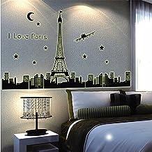 2016 NEW Fluorescent Eiffel Tower Headboard Home Decors I Love PairsTorre Eifel Para Decorar Decals Paris Night Bedroom Wall Stickers