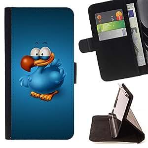 BullDog Case - FOR/Apple Iphone 5C / - / Happy Blue Bird /- Monedero de cuero de la PU Llevar cubierta de la caja con el ID Credit Card Slots Flip funda de cuer