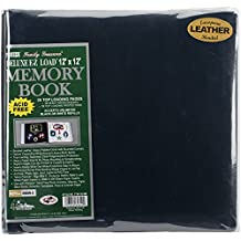 Pioneer Photo Albums 12 x 12-Inch Postbound Leather Family Treasures Memory Book, Navy Blue