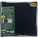 Pioneer 12 Inch by 12 Inch Postbound Leather Family Treasures Memory Book, Navy Blue