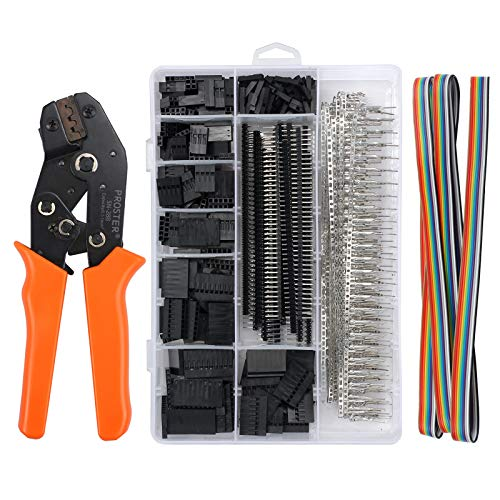 Proster Dupont Crimper SN-28B Ratchet Crimping Tools with 1550PCS Male/Female Pin Connectors 0.1-1.0mm² Crimping Set for 2.54/3.96mm KF2510 Connector 28-18AWG