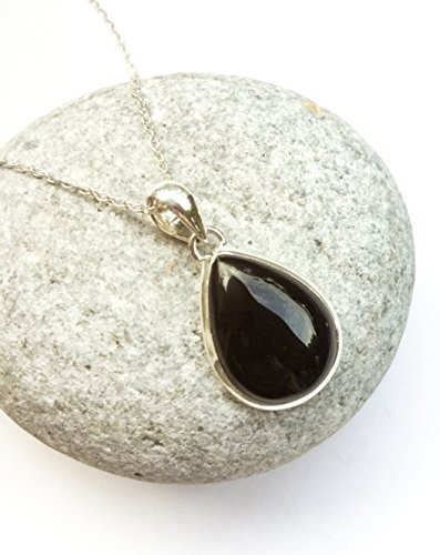Black Onyx pendant, Teardrop shape onyx silver pendant, Black Onyx necklace, natural gemstone, black stone pendant, Small teardrop black gem