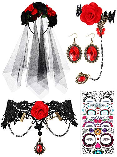 Hicarer Halloween Day of The Dead Costume Gothic Wedding Costume for Women Halloween