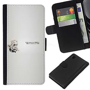 JackGot ( Einstein Cita ) Sony Xperia Z1 L39 la tarjeta de Crédito Slots PU Funda de cuero Monedero caso cubierta de piel