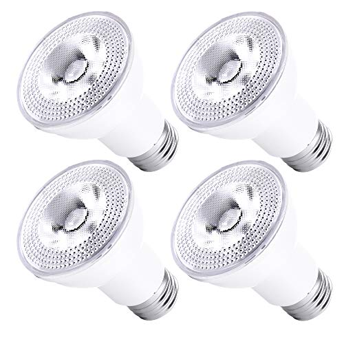 Par20 Led Flood Light Bulbs 5000K Daylight Dimmable 50W Halogen Replacement 7W E26 40 Degree Spot Beam Angle Indoor Track Recessed Lighting Bulb 4-Pack