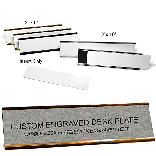 Custom Engraved Desk Plate Insert Only - Removable - Marble Grey/Black - 2