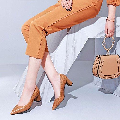 Mode Pointue DKFJKI Plaid Femmes Brown Profonde Bouche Peu en Hauts Basses pour Bonbons Casual Paresseuses Cuir Chaussures Talons Sauvages Chaussures 68r6w1