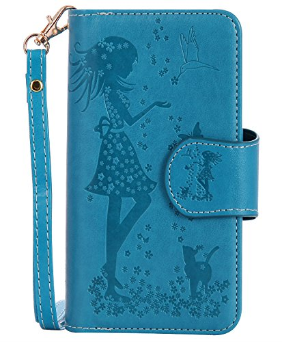 Samsung S9 Plus Case,Galaxy S9 Plus Wallet Case,FLYEE 9 Card Slot PU Leather Magnetic Protective Cover with Mirror and Wrist Strap for Samsung Galaxy S9 Plus 6.2 inch Nine Card-Blue