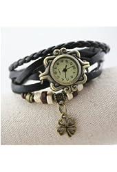 Domire Quartz Stylish Weave WRAP Around Leather Bracelet Lady Woman Wrist Watch(Four Leaf Clover)