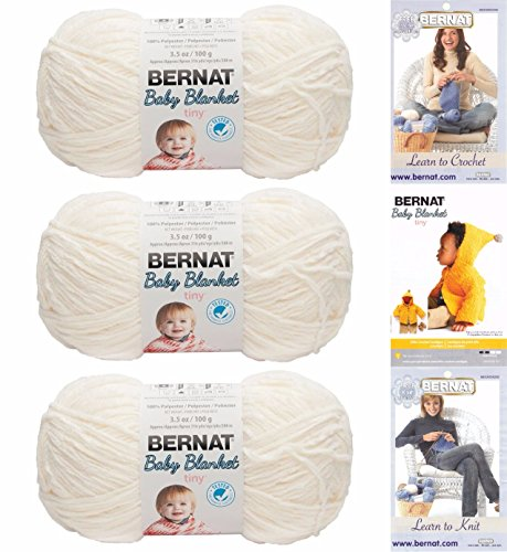 Bernat Crochet Patterns (Bernat Baby Blanket Tiny 3 Pack 100 Percent Polyester Gauge Medium 4 Worsted Bundle (Polar Bear))