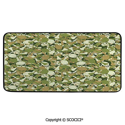 - Rectangular Area Rug Super Soft Living Room Bedroom Carpet Rectangle Mat, Black Edging, Washable,Camo,Sketchy Skulls and Crossbones Warning Sign Spooky Scary Horror,39