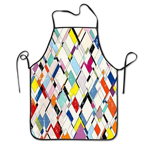Apron - Extra Long Tie - Fun to Tie The Apron Yourself - Adult Size,(Colored Plaid Wallpaper) ()