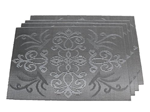 TEMO Placemats with Table Runners, PVC Heat Resistant Table Mats for Kitchen Dining Table, Washable Place Mats, Set of 4 [silver gray pattern] ()