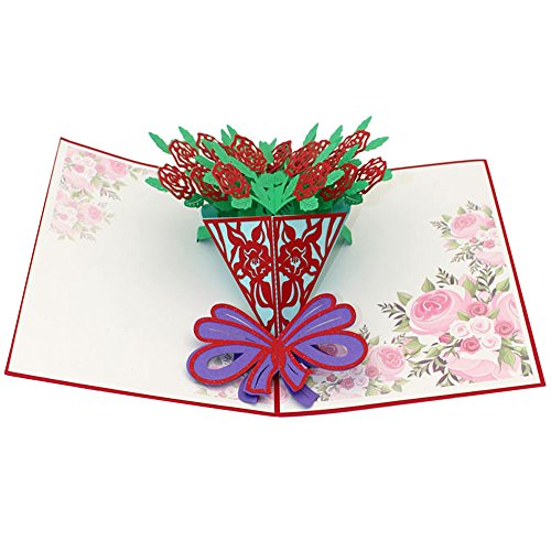 Orcbee  _3D Pop Up Cards Valentine Lover Happy Birthday Anniversary Greeting Cards (B)