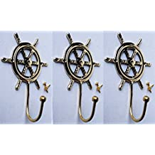 LOT OF 3 Marine Nautical Anchor Solid Brass Ship Wheel Coat Hat Wall Hook 6729